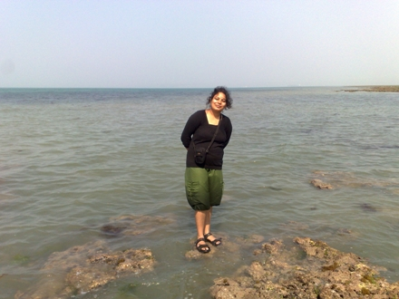 Meenakshi at waters edge :-)