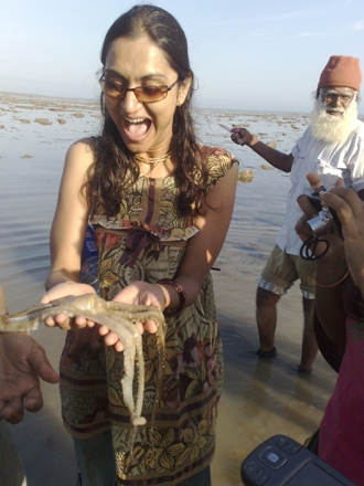 Dr. Bhumijia being brave with Mr. Octopus