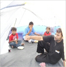 Dj Lee JP with Kids in a tent