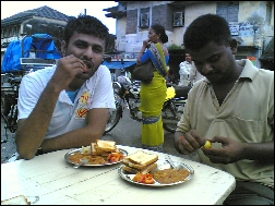 Axat & Arpit eating Pau Bhaji at Paneli