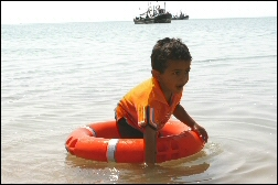 Prasanna learning to swim :-)