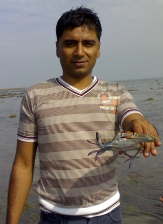 Imdad with Mr. Crab