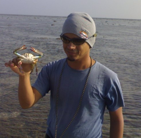 Jehan with Mr. Crab
